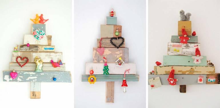 arvore de natal artesanal artesanal de madeira na parede