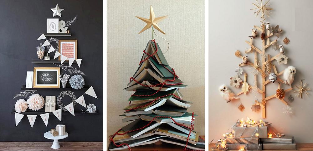 arvore de natal criativa com livros e adesivo