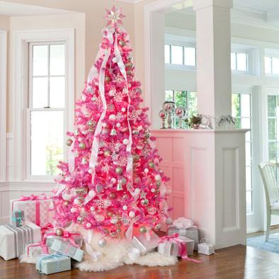 arvore de natal rosa