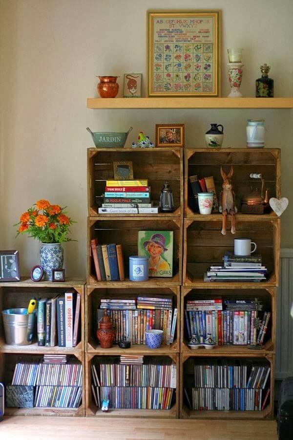 cantinho da leitura estante de caixotes