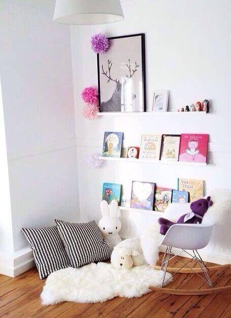 cantinho da leitura quarto infantil branco