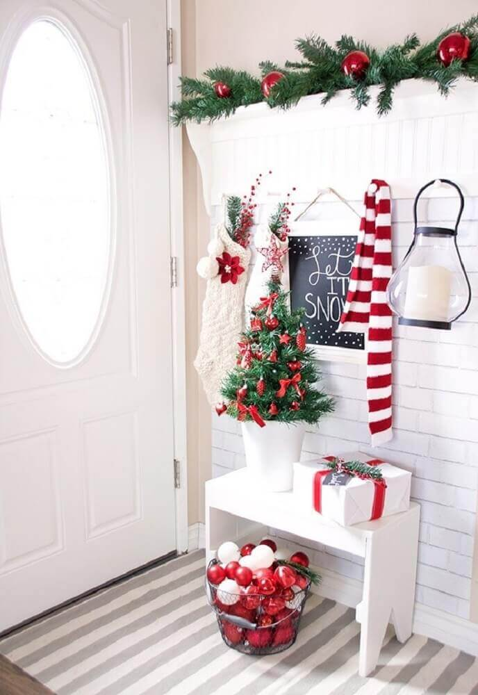 Beautiful decor for entrance hall with Christmas decorations
