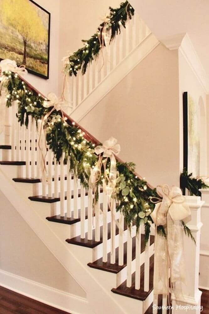 Beautiful staircase decoration with Christmas decorations