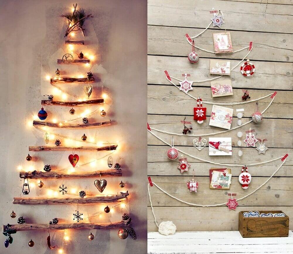 Lindas ideias de enfeites de natal feitos na parede