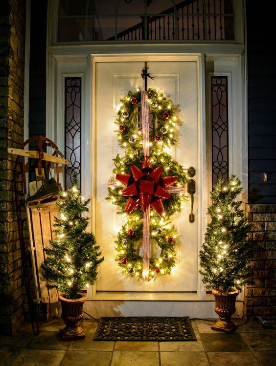enfeites de natal porta decorada