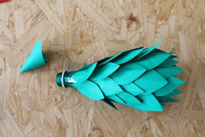 Árvore de Natal de Garrafa Pet passo 6