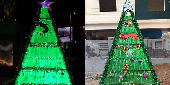 Árvore de natal de garrafa PET com estrutura de ferro Foto de NDTV