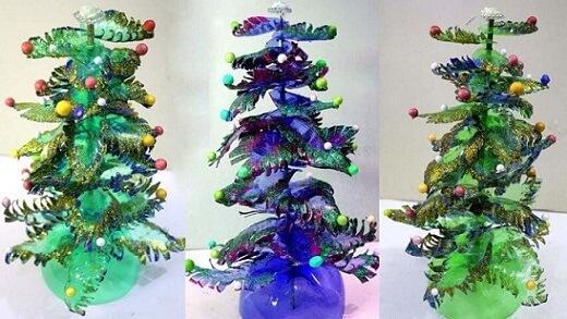 Árvore de natal de garrafa PET em verde e azul Foto de YouTube