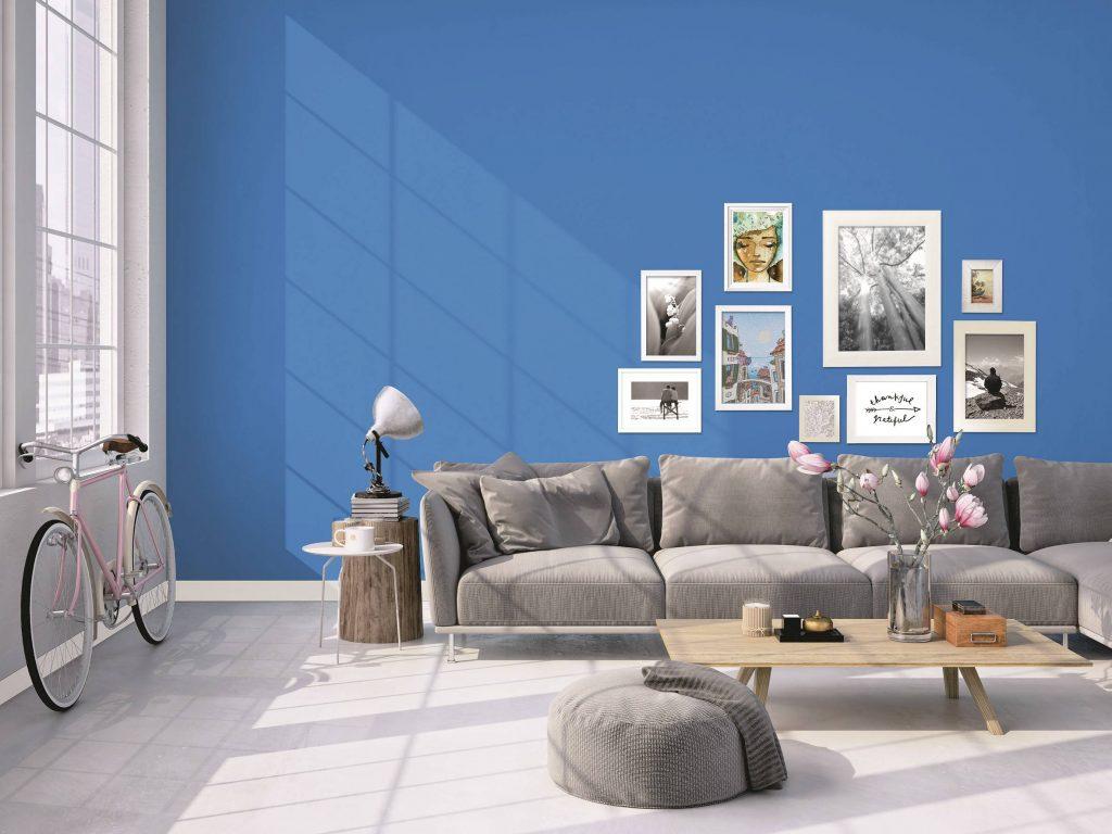 Sala azul vibrante com sofá cinza e composição de quadros.