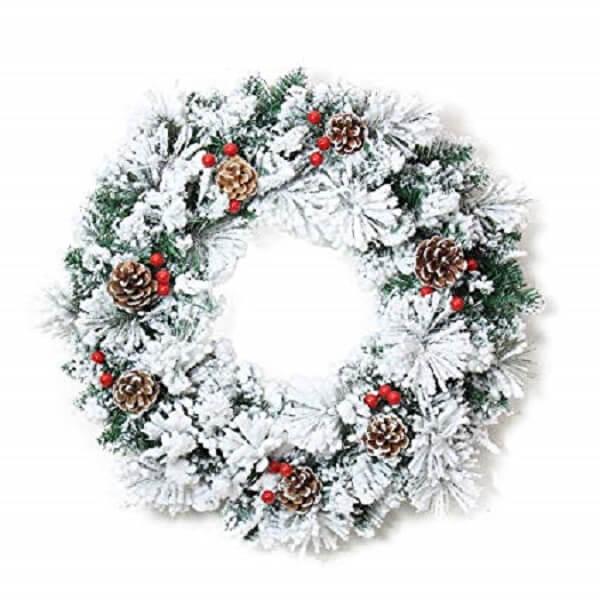 Guirlanda para Natal com pinha e flores artificias