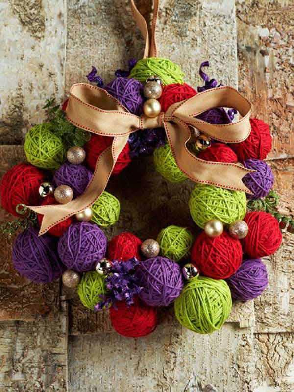 DIY- Decoração de Natal guirlanda de lã