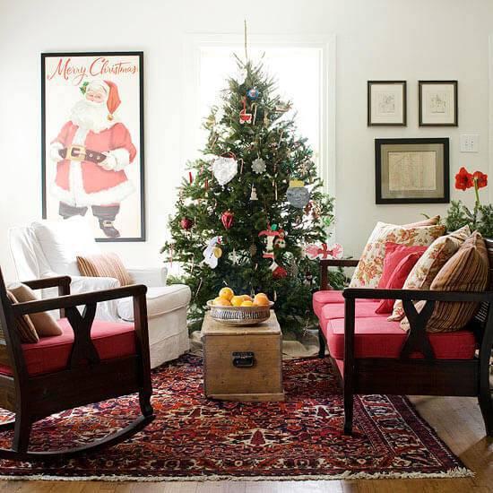 Decoração de Natal sala decorada de um jeito simples