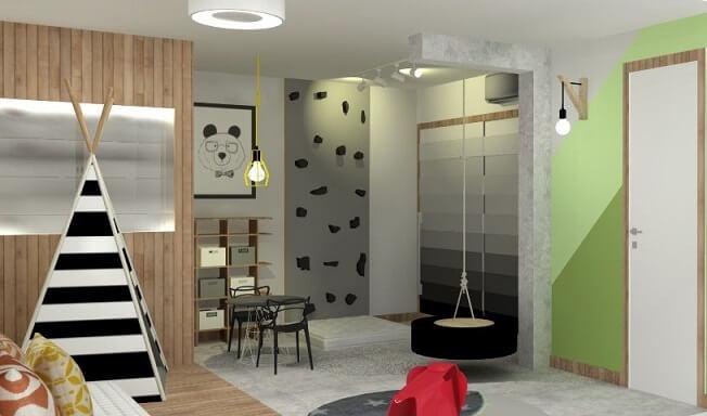 Decoração de quarto de menino com parede greenery Projeto de Giselle Jaeger Silva de Moraes