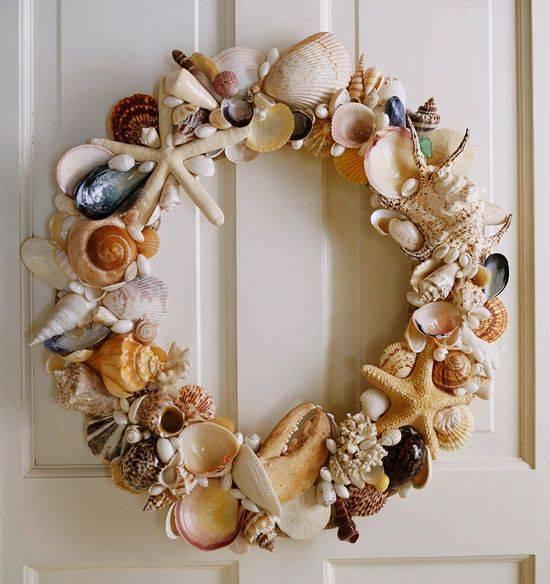 Guirlanda de Natal de conchas do mar sereia diy