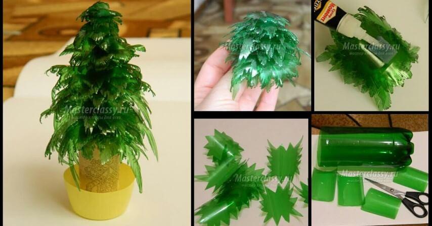 Mini árvore de natal de garrafa PET com folhas e potinho Foto de Masterclassy