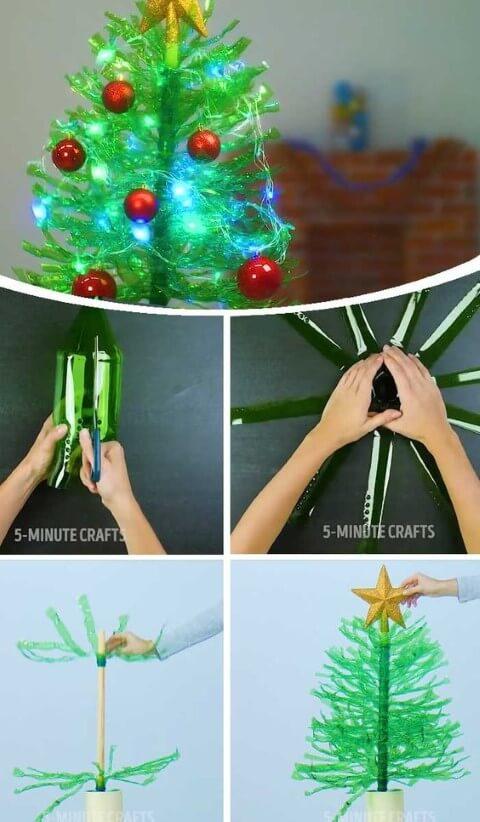 Mini árvore de natal de garrafa PET picotada Foto de 5-Minute Crafts