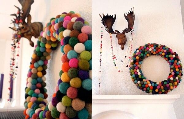 Guirlanda para Natal com bolinhas coloridas