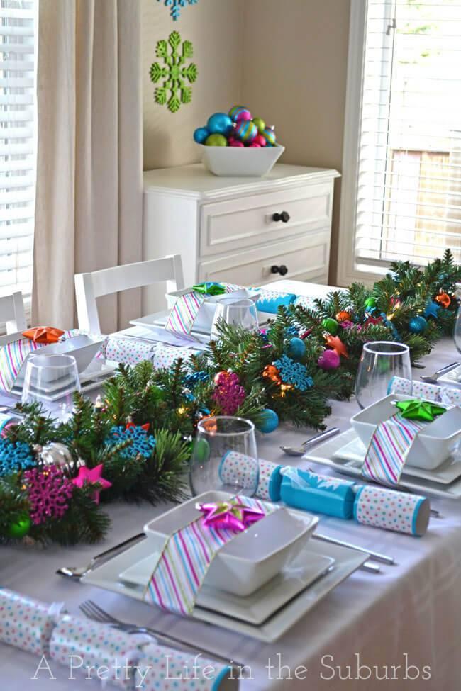 mesa de natal colorida