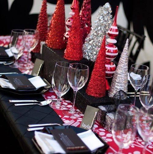 mesa de natal preto e vermelho