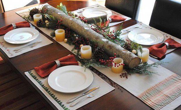 mesa de natal rústica com tronco