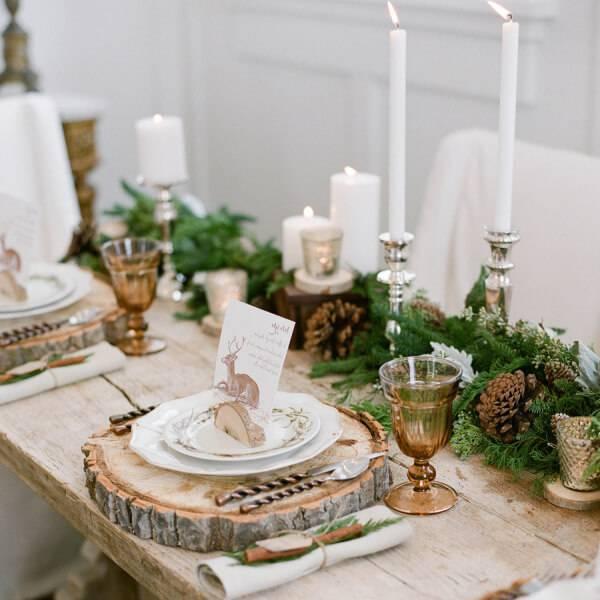 mesa de natal rustica e elegante
