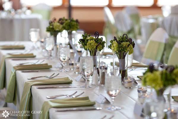mesa de natal verde comprida