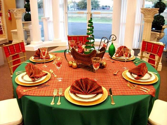 mesa de natal verde e laranja