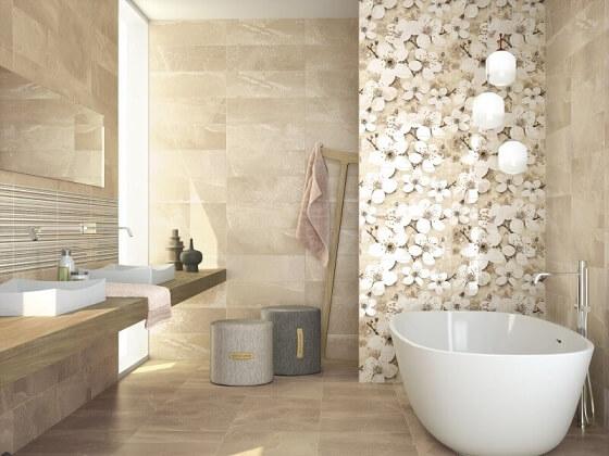 Cerâmica para banheiro bege com textura