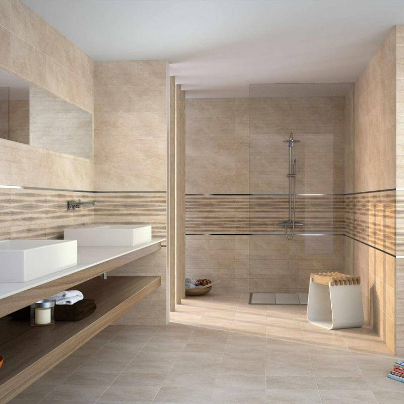 Cerâmica para banheiro bege manchado