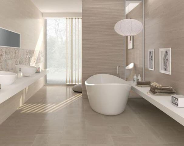 Cerâmica para banheiro cinza claro