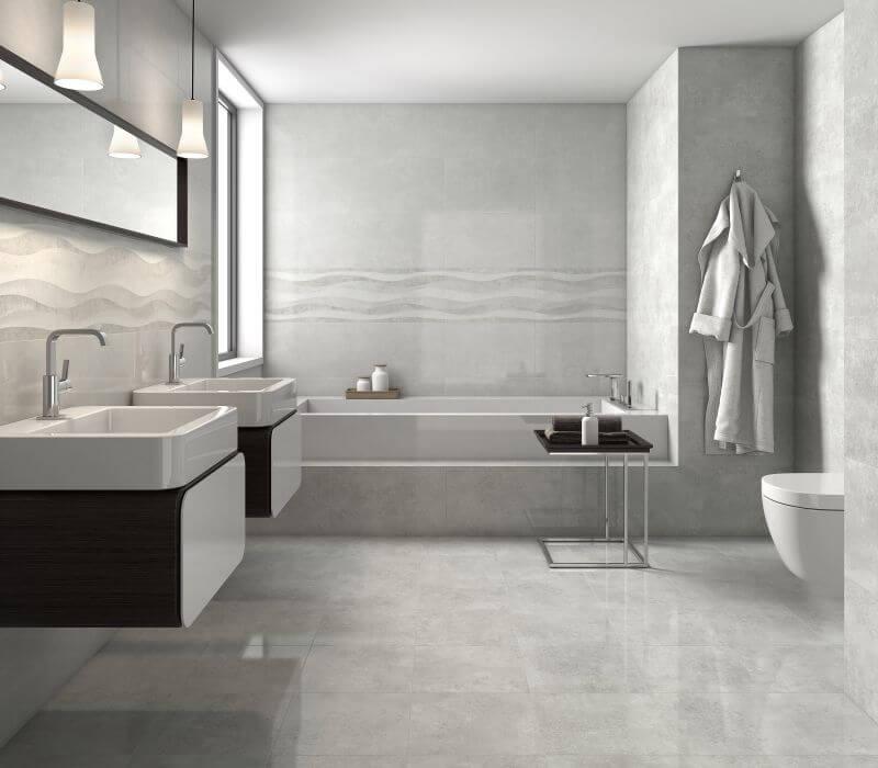 Cerâmica para banheiro cinza em ambiente todo cinza