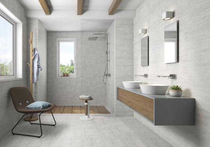 Cerâmica para banheiro cinza na parede e no chão