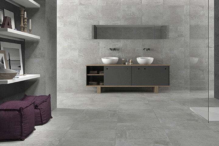 Cerâmica para banheiro cinza no chão e na parede