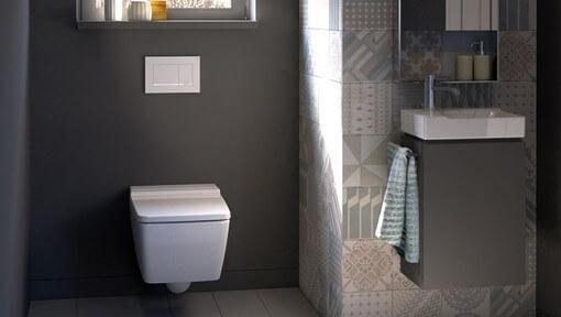 Cerâmica para banheiro estampado na parede