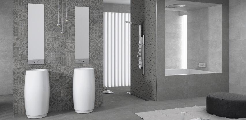 Cerâmica para banheiro estampado