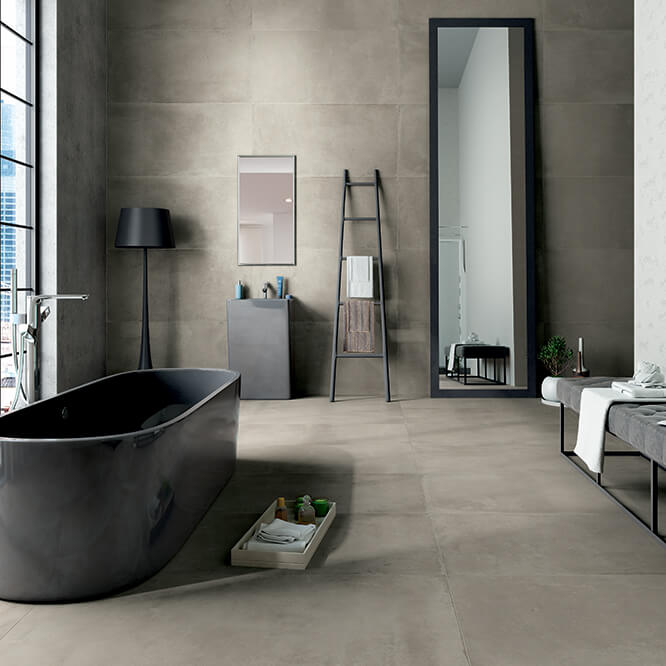 Cerâmica para banheiro grande no chão e na parede