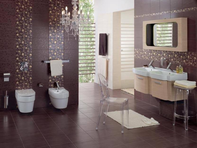 Cerâmica para banheiro vinho e estampadas
