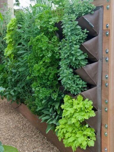 Horta vertical em estrutura com bolsos Foto de Gardening Sustain
