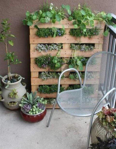 Horta vertical em pallet na varanda Foto de Blog Thony