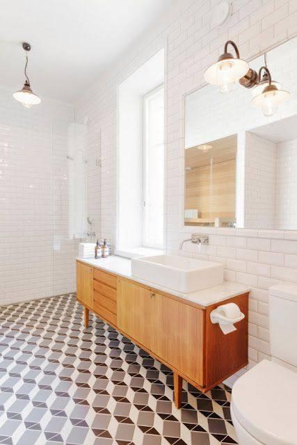 Revestimento para banheiro piso geometrico