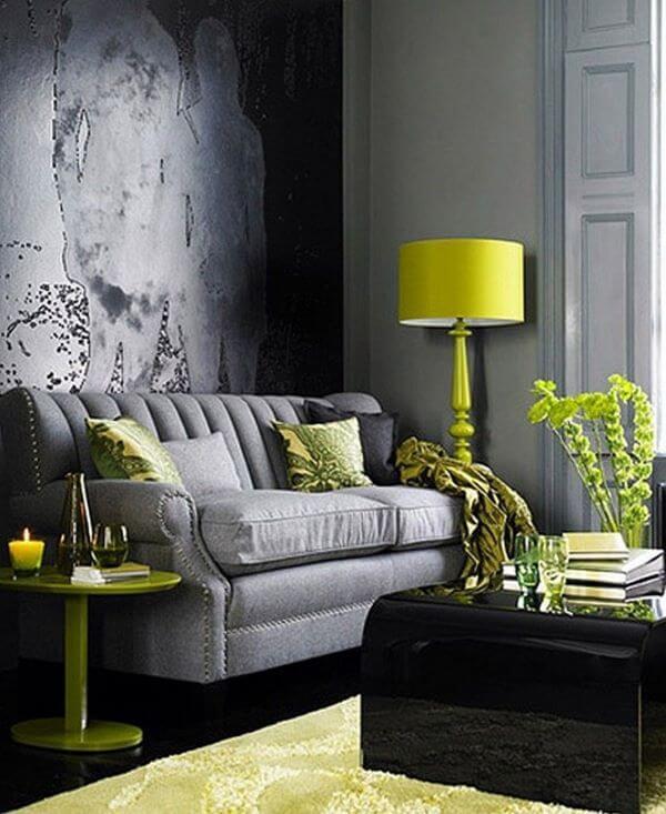 Abajur para sala de estar amarelo