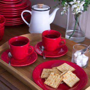 aparelho de jantar vermelho lojas em promoção