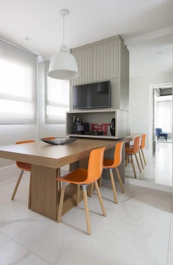 cadeiras laranjas para decoração de sala de jantar branca moderna Foto Spaço Interior