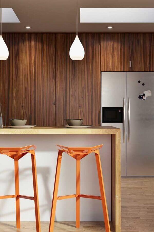 cores quentes para banqueta de cozinha moderna  Foto Home Fashion Trend