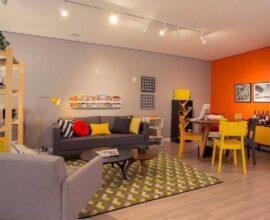 cores quentes para decoração de sala de jantar e estar integradas Foto Apolar