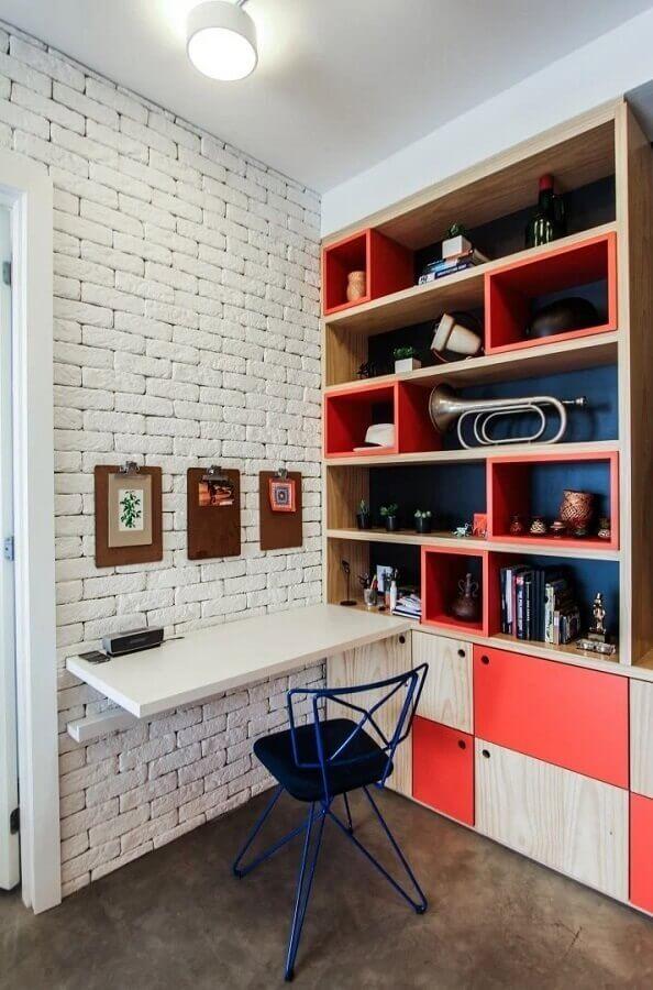 cores quentes para estante de nichos planejada  Foto SP Estúdio Arquitetura