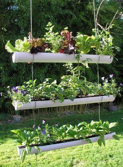 horta vertical com cano de pvc suspensos