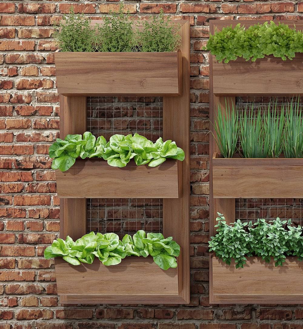 horta vertical de madeira simples
