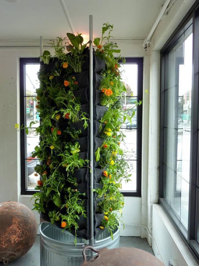 horta vertical em pilastra