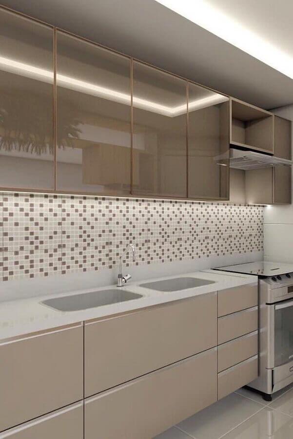 pastilhas de vidro para cozinha decorada em tons neutros Foto Arquitetura Archives